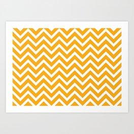 orange, white zig zag pattern design Art Print