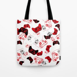 Video Game White and Red Tote Bag