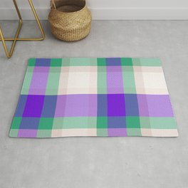 White Violet Green Blue Tartan Plaid Rug