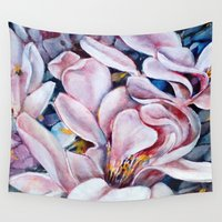 magnolia Wall Tapestries featuring magnolia by Eva Lesko