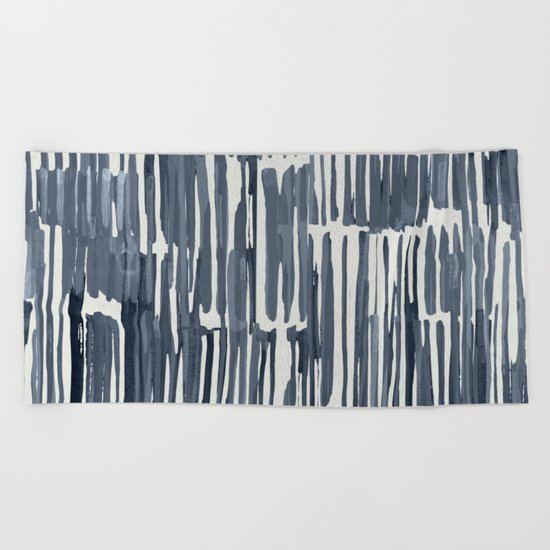 Simply Bamboo Brushstroke Indigo Blue on Lunar Gray Beach Towel