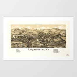Aerial View of Springfield, Vermont (1886) Art Print