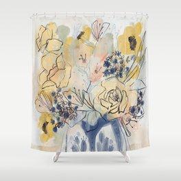 Golden Folk Florals in Vintage Blue Shower Curtain