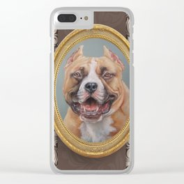 Old Gentleman. Amstaff Dog portrait in gold frame Clear iPhone Case