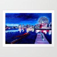 Vancouver skyline at starry night Art Print