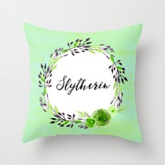HP Slytherin in Watercolor Throw Pillow