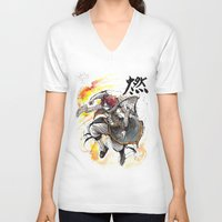 fairy tail V-neck T-shirts featuring Natsu from Fairy Tail sumi/watercolor by mycks