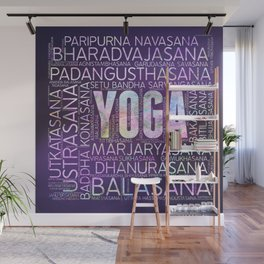 Yoga Asanas  Word Art  on Purple Wall Mural