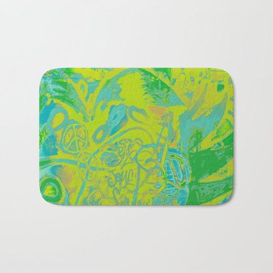 Fancy abstract yellow blue green graffiti design Bath Mat