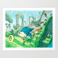 Starring Sonic and Miles 'Tails' Prower (Blue Version) Art Print