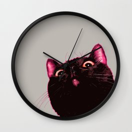 Curious cat, Black cat, Pop Art cat. Wall Clock