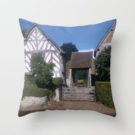 Mary Arden Home * 1950's * Barnyard * Stratford * England * Kodachrome * English Art Print Throw Pillow