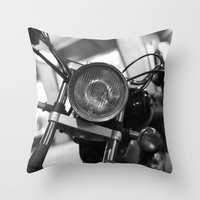motorcycle Throw Pillows featuring Motorcycle by James Tamim