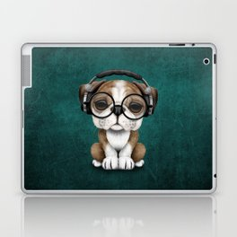 English Bulldog Puppy Dj Wearing Headphones and Glasses on Blue Laptop & iPad Skin