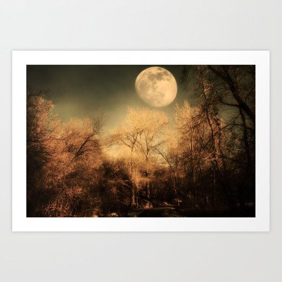 Dark Trees and Moon Art Print
