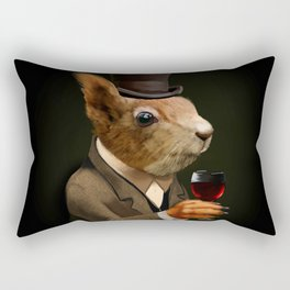 Sophisticated Pet -- Squirrel in Top Hat with glass of wine Rectangular Pillow