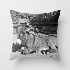 Black and white Burro  Throw Pillow