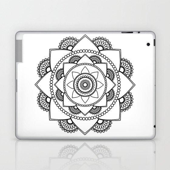 Mandala 01 - Black on White Laptop & iPad Skin