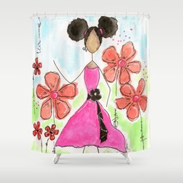 Tia, Hey Girl! Shower Curtain
