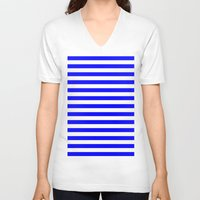 stripes V-neck T-shirts featuring Horizontal Stripes (Blue/White) by 10813 Apparel