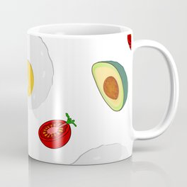 Fried egg,avocado and tomato pattern Coffee Mug