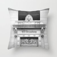 broadway Throw Pillows featuring 100 Broadway by Jon Cain