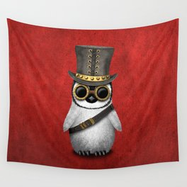 Steampunk Baby Penguin Wall Tapestry