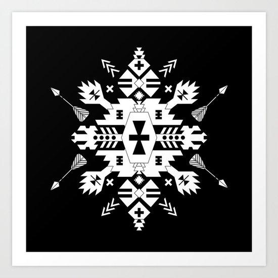 Black and White Ethnic Aztec Ornament Art Print