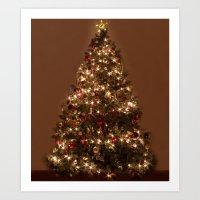 christmas tree Art Prints featuring Christmas tree. by Assiyam