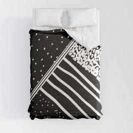Geometrical black white watercolor polka dots stripes Comforters