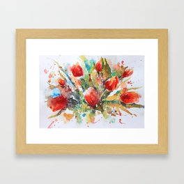 A splash of red Framed Art Print