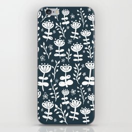 Navy Blooms iPhone Skin