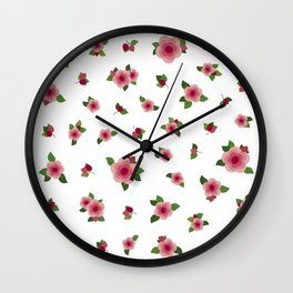 Lovely Pink Roses - white Wall Clock