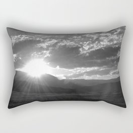 Black and White Wyoming Sunset over the Beartooth Mountains Rectangular Pillow