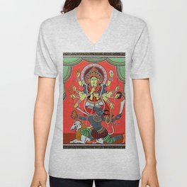 Hindu Durga 5 Unisex V-Neck