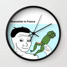 Meanwhile in France PepeTheFrog Frog legs Wojak Meme Wall Clock