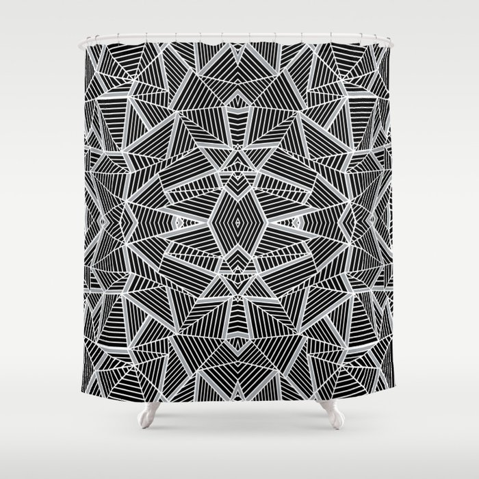 Abstract Lines Black And Silver M Shower Curtain By Projectm Society6