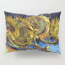 Four Cut Sunflowers - Auvers-sur-Oise Four sunflowers gone to seed by Vincent van Gogh Pillow Sham