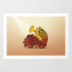 Tanuki and Flamenco Art Print