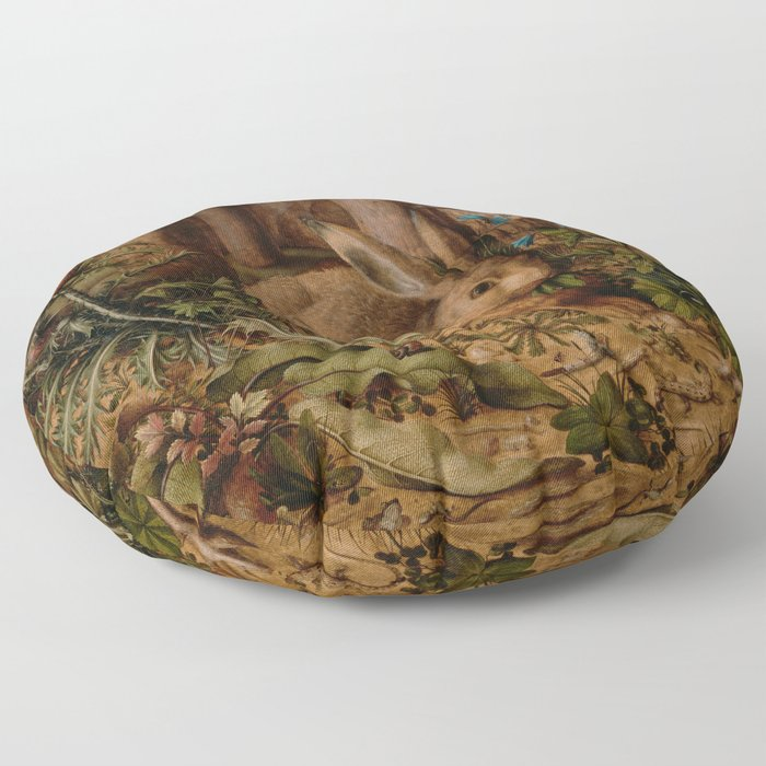 A Hare In The Forest Hans Hoffmann Floor Pillow