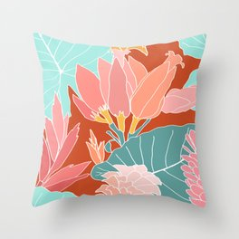 Large Scale Ginger Flowers in Rust Throw Pillow