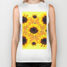 Decorative Golden Yellow  Black Sunflower patterns Biker Tank