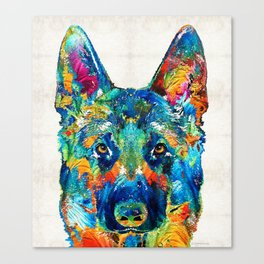 Colorful German Shepherd Dog Art By Sharon Cummings Canvas Print