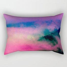 Fog Forest Mountain - Pink Rainbow Northern Lights Rectangular Pillow