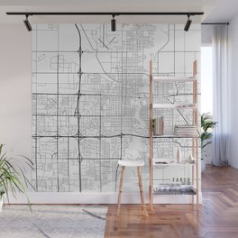 Fargo Map, USA- Black and White Wall Mural