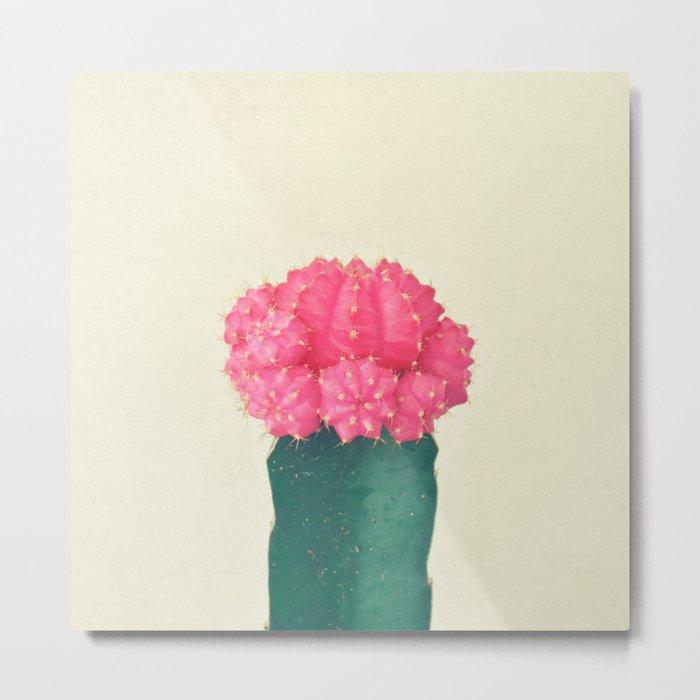Pink Plaid Cactus Metal Print