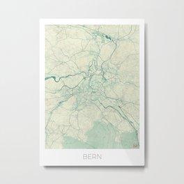 Bern Map Blue Vintage Metal Print