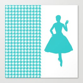 Turquoise Modern Houndstooth w/ Fashion Silhouette Canvas Print