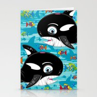 killer whale Stationery Cards featuring Killer Whale & Fish by markmurphycreative