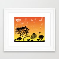 safari Framed Art Prints featuring Safari by Kaitlynn Marie